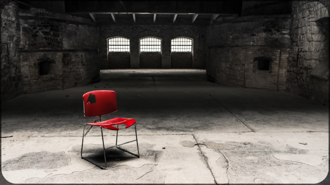 Kalkwerk Rüdersdorf roter Stuhl zentral © Bernd Wonde