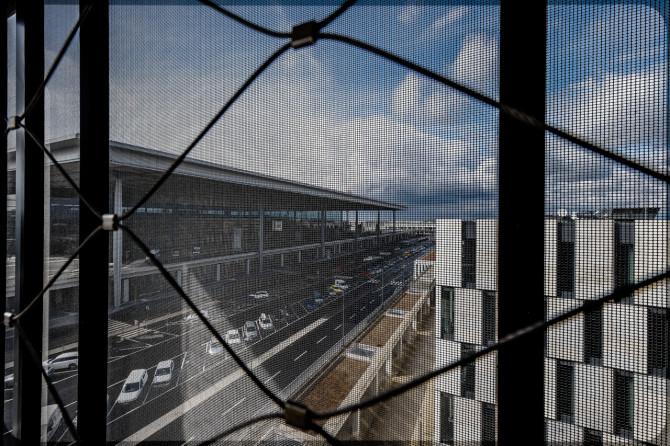 Flughafen BER Parkhaus Sicherungsnetz © Bernd Wonde